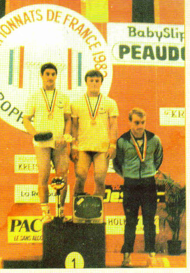 Podium des championnats de France 1983 Catégorie 75kg Sénior 1er Richard FERNANDEZ  (Clermont Sports) 2ème Philippe AUBOUY (Clermont Sports) 3ème Luc HAREL (HC Vernon)