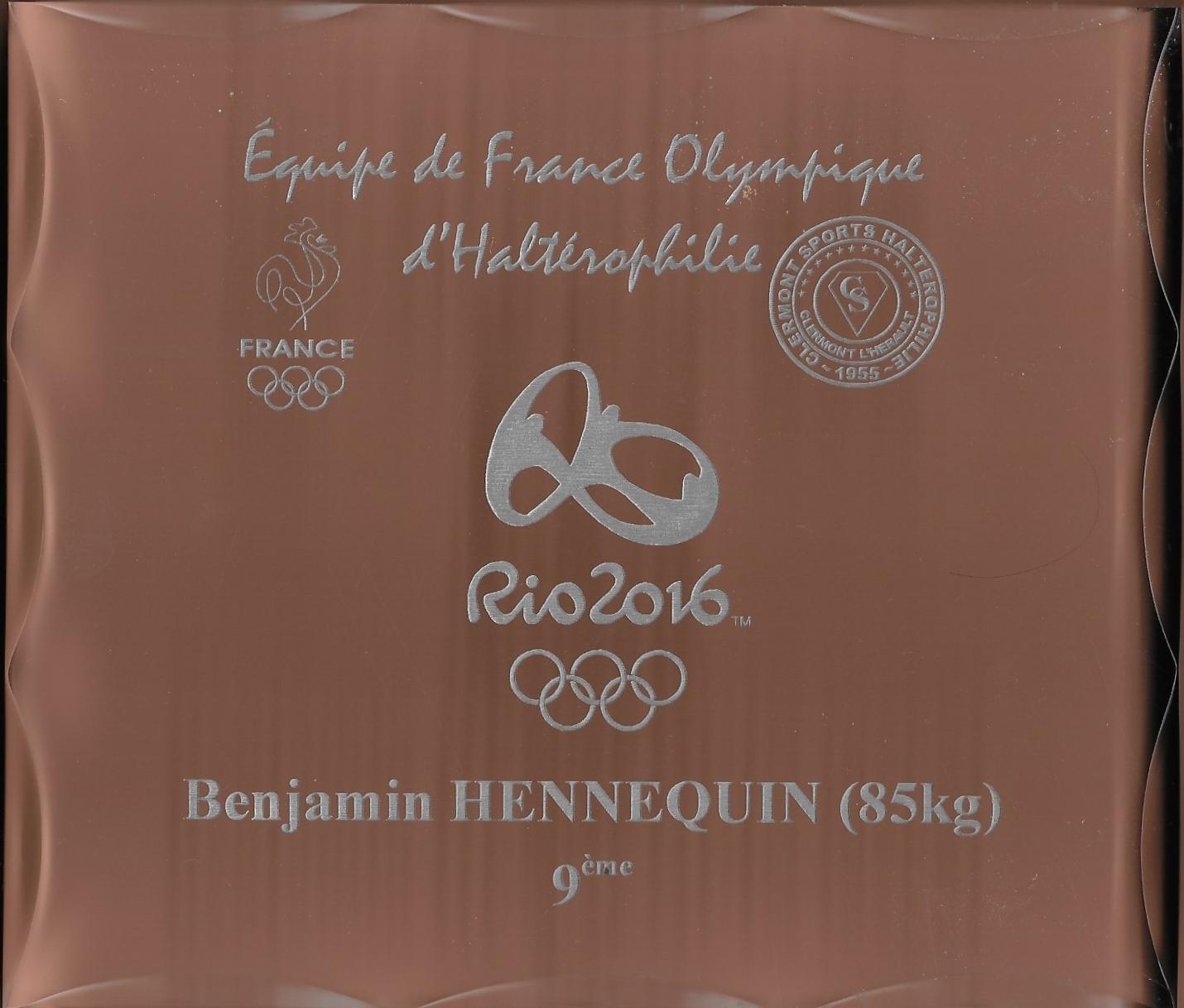 Trophée offert aux athlètes de l'équipe de France Olympique Rio 2016 par Clermont Sports