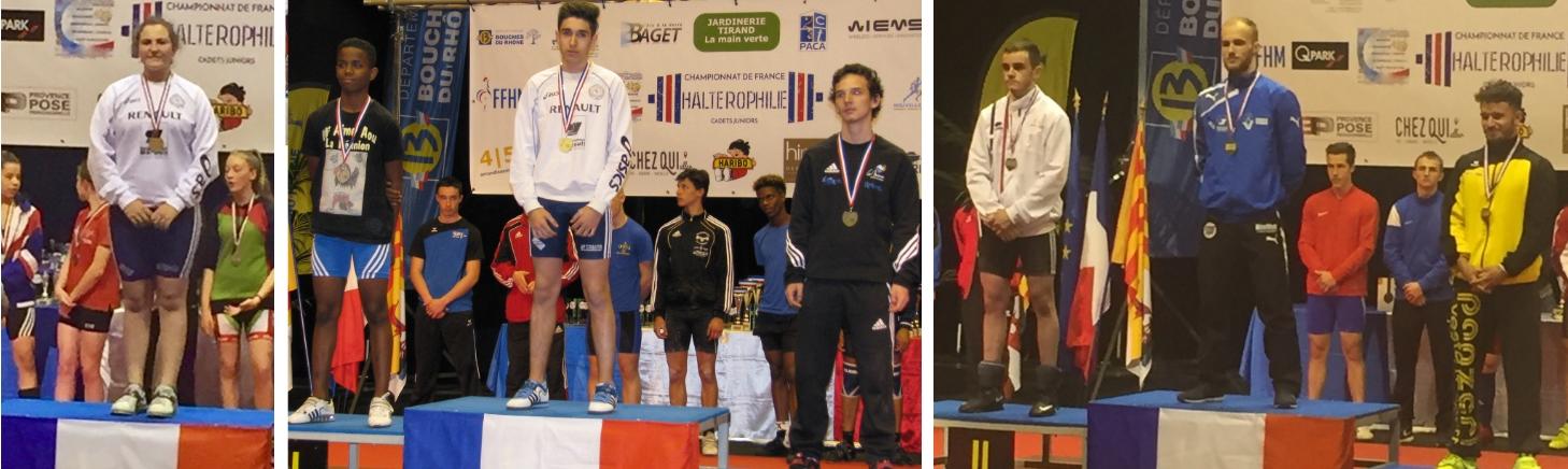 Océane SEVERAC, Jérémy PEIGUET et Julien MULLOR Tous trois champions de France